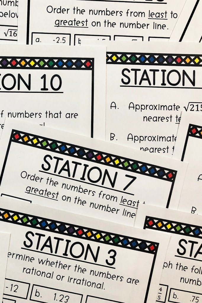 This is a FUN way to practice Core Standard 8.NS.A.1 & 8.NS.A.2.  Your middle school math class will LOVE doing stations!  This is a great way to review irrational and rational numbers.