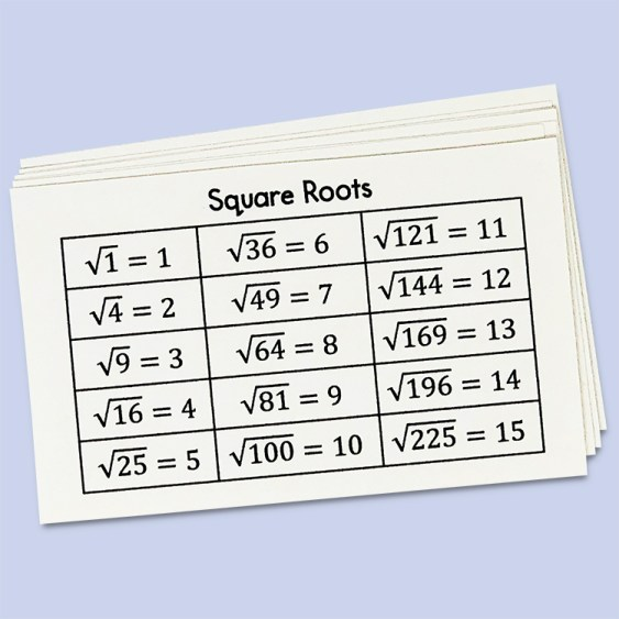It can be very overwhelming to work with square roots of non-perfect squares. Use this square roots reference card and perfect squares sheet to help your studentsas they begin working with squares and square roots.