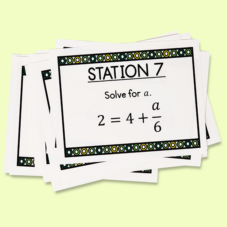 Practicing two step equations has never been more easy with these task cards! They include multiple printing options and an answer key. Give yourself an easy day, and give your class an entertaining way to review two-step equations!  Your middle school math class will love them!
