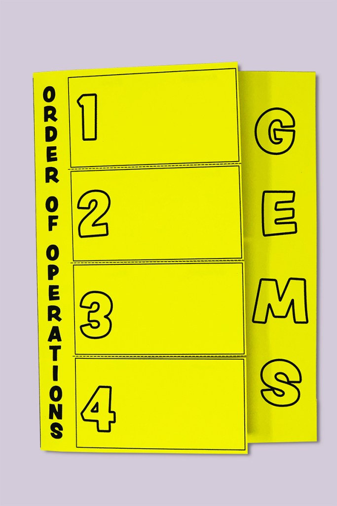 This Order of Operations foldable is a fun and engaging way for your 5th, 6th, or 7th grade math students learn Order of Operations using the GEMS method.  It fits perfectly in your interactive math notebook!