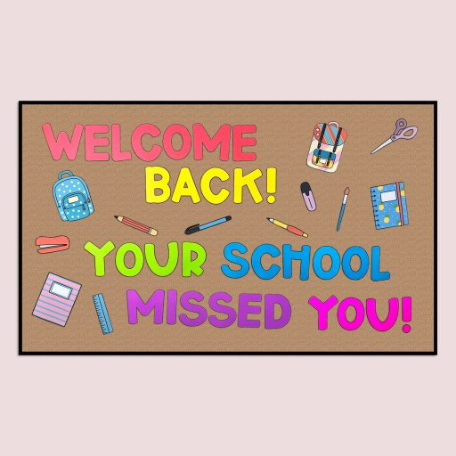 Show your students that you're happy to have them back for the 2020 school year with this back to school bulletin board design!