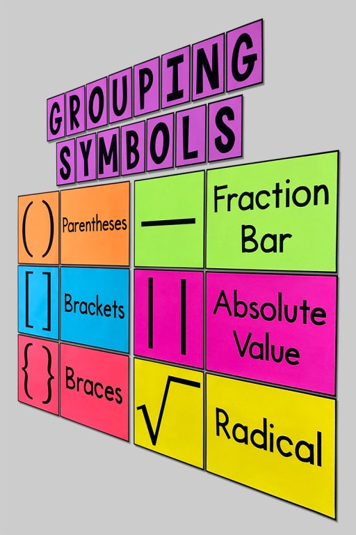 These eye-catching bulletin board posters will help your students learn the types of grouping symbols and will look GREAT on your word wall with your anchor charts!  Some of your students may need help remembering all the different grouping symbols - parentheses, brackets, braces, absolute value bars, fraction bars, and radical signs. Having a constant reminder on the wall really helps!  Your 4th, 5th, 6th, or 7th grade math students will really benefit from this poster. But it will fit in any middle school or high school math class too!