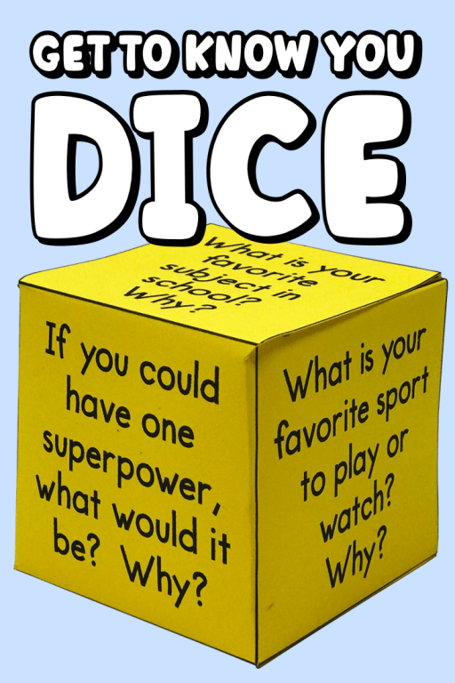 Get to know you dice is a unique icebreaker activity that's perfect for back to school!  The set of four dice contains 47 unique get to know you questions!