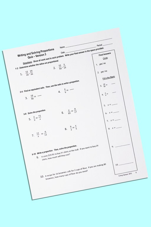 This writing and solving proportions quiz will save you lots of time and effort!  Don't use your own precious free time to make a quiz - I've done the work for you!