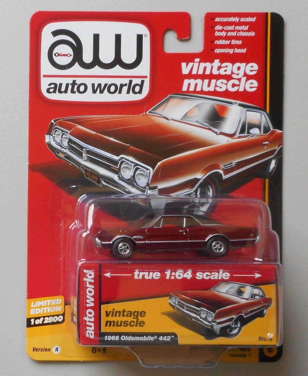1966 Autumn Bronze Oldsmobile 442 AUTO WORLD DIE-CAST 1:64 CAR w BOX ...