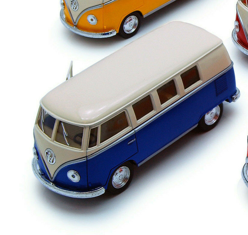 1:32 BLUE WHITE VW VOLKSWAGEN 1962 CLASSIC BUS KINSMART