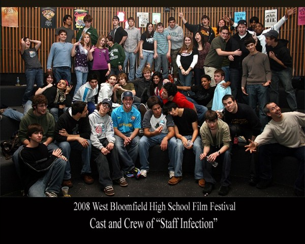 The cast and crew of the 2008 feature zombie-comedy--Staff Infection inside Micah's Forum.