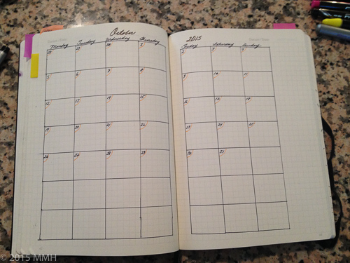 Planner pages for October 2015