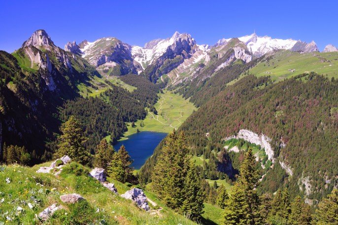 The Sämtisersee—a lake in the the Appenzell region.
