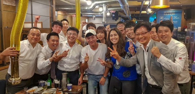 We met Kim Jong-min (in white baseball cap) of the Korean dance and hiphop group Koyote at a Korean BBQ place in Gangnam.