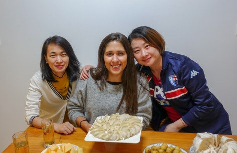 Grace (left), Kathleen (right), and I helped out with the dumplings.