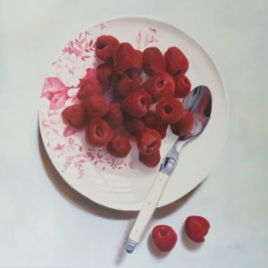 "Award winning West Australian Artist, Mia Laing 'Not a Raspberry Fool' oil on canvas 2015 76x76cm / 30x30"" copyright Mia Laing 2016"