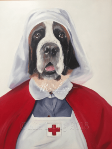 Matron St Bernard - oil painting by Mia Laing
