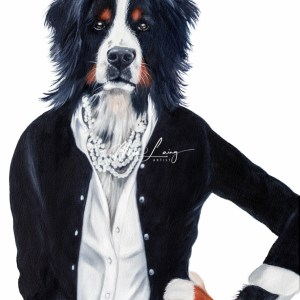 Bernese Mountain Dog oilpainting by West Australian artist Mia Laing