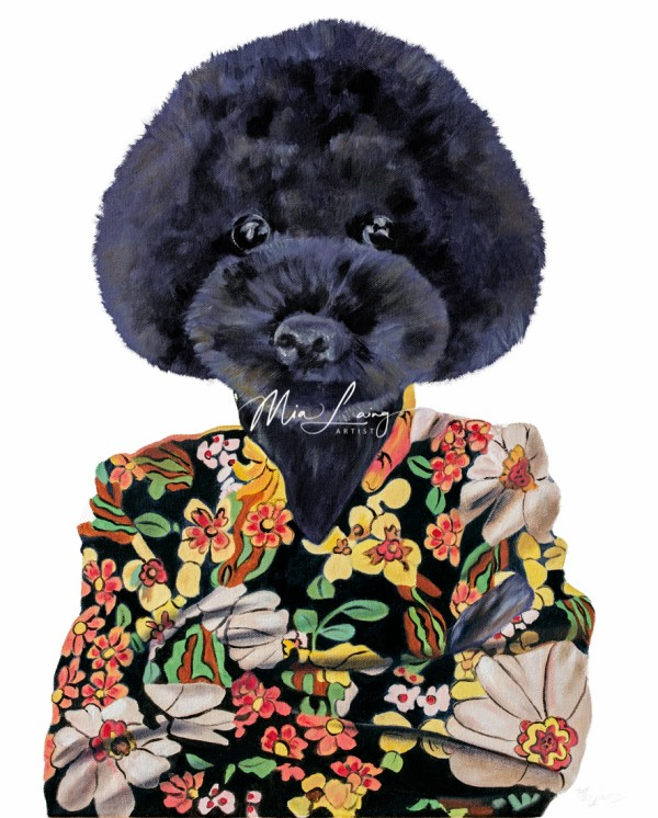 Hippie poodle oilpainting by australian artist Mia Laing