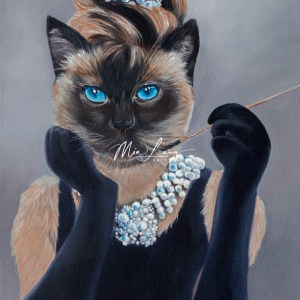 Siamese Cat dressed as Audrey Hepburn, Mia Laing Artist