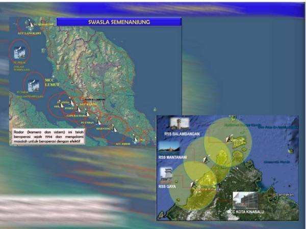 Swasla in the peninsula and Sabah serve as a 24-hour radar network to assist with nighttime surveillance along Malaysian waters.