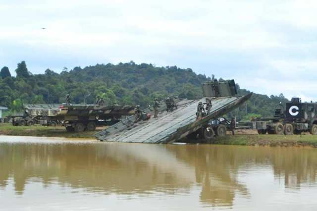 Launching of the Tactical Floating Bridge.