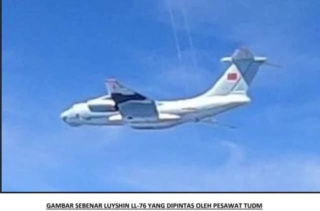 Actual photo of China's Ilyushin Il-76 intercepted by RMAF Hawk aircraft.