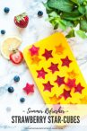 silicone star shaped ice cube tray with frozen strawberry puree stars