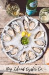 Tray of Hog Island Oyster Co. Kumamotos arranged in a circle