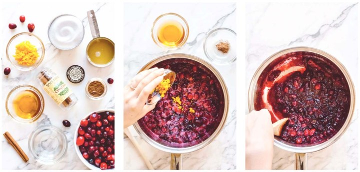 Photo collage showing the three step instructions for making a sauce out of cranberries