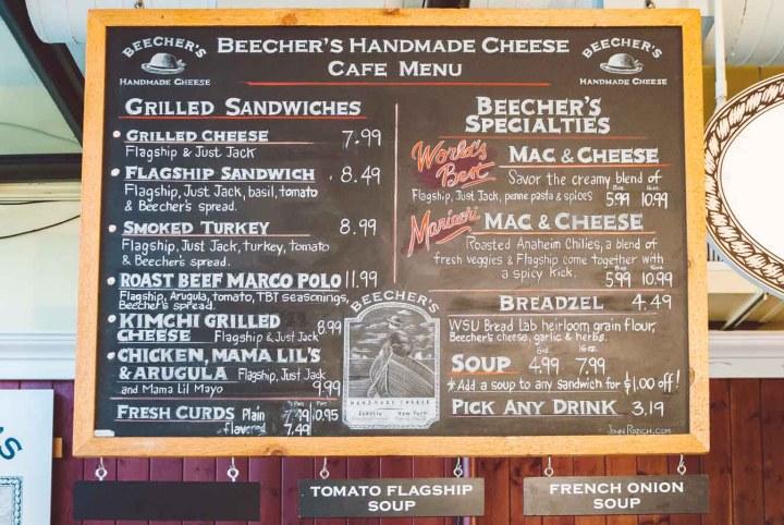 Hanging chalkboard menu at Beecher's Cafe in Seattle