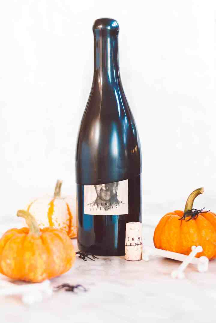Halloween wine bottle with pumpkins