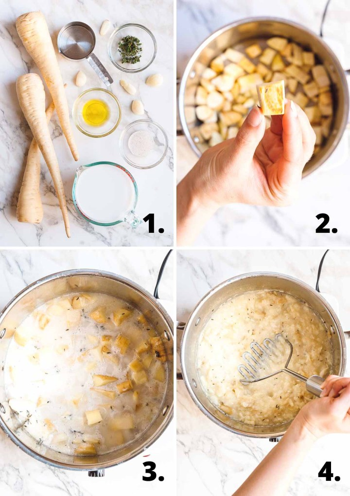 Four process shots of the steps to make a parsnip mash recipe
