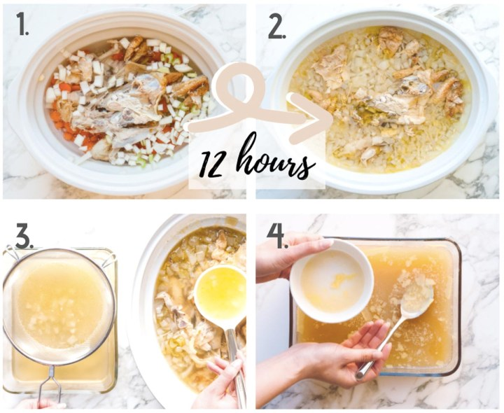Four image collage demonstrating the steps it takes to complete this recipe.