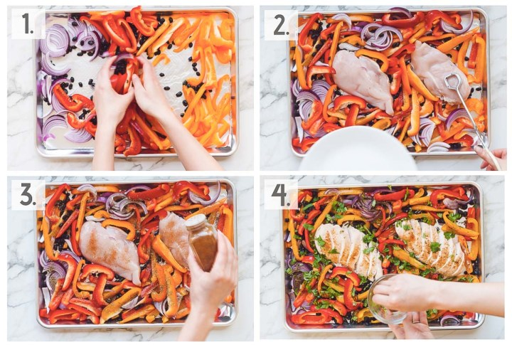 Overhead four image college demonstrating the steps of prepping this recipe all on the sheet pan with sliced veggies and chicken laid on the baking sheet in each image.