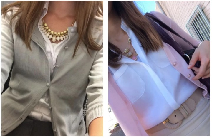 Two image collage showing two different business professional outfit ideas. The image on the left is a woman wearing a grey button up sweater with a white shirt underneath and the image on the right is a woman wearing a white shirt, with a pink sweater and kaki belt.