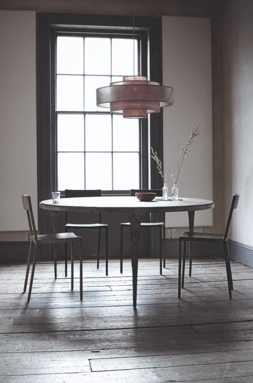 Pendant three-tier fabric shade by Ochre