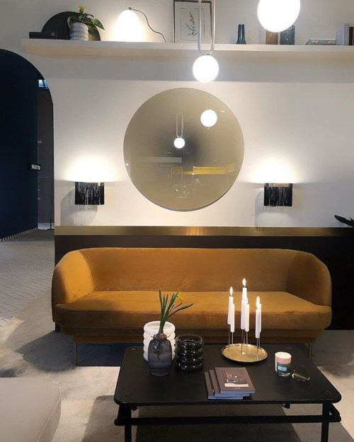 enostudio EnoStudio Stand with CIME Pendant Light, GALON Wall Fringe lamp, Cornice Sofa