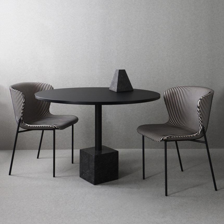 minimalist stripped monochrome dining chair friends and founders