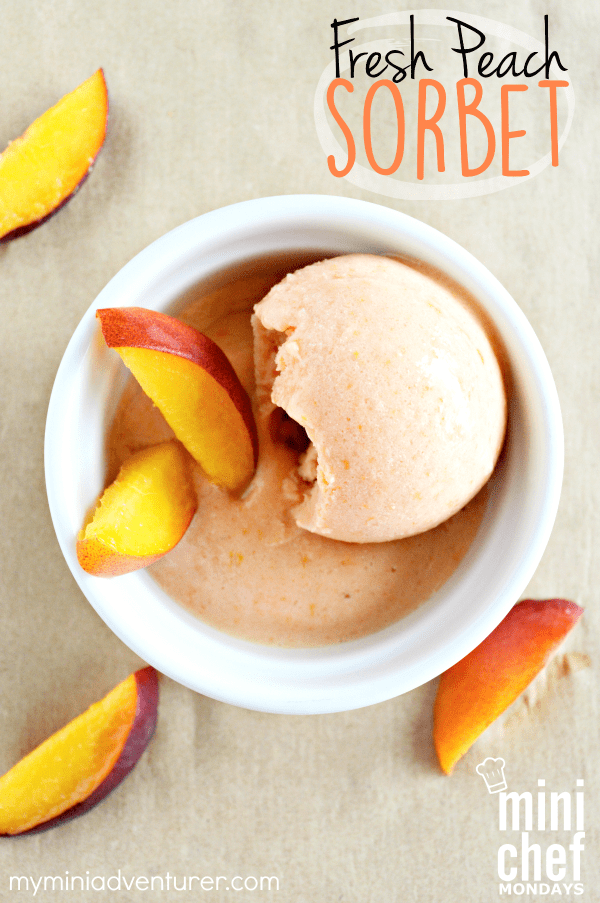 Fresh Peach Sorbet is so easy to make at home with your kids!