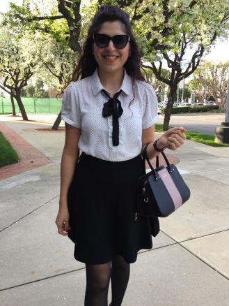 work-ootd-polka-dot-top-knit-tie-neck-flared-black-skirt-1
