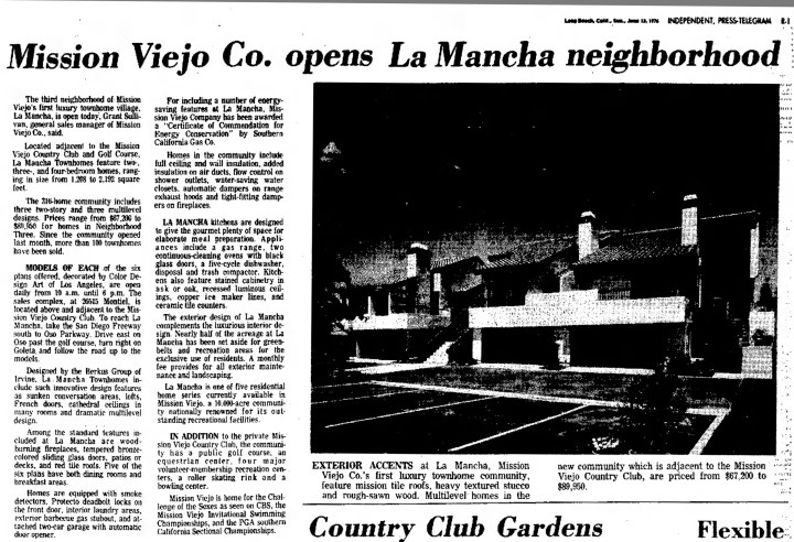 La Mancha Homes Mission Viejo Grand Opening 1976