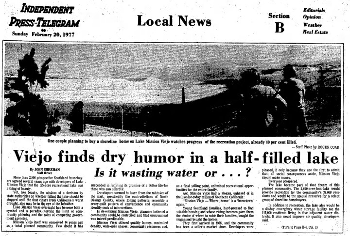 Lake Mission Viejo Completion Story 1977