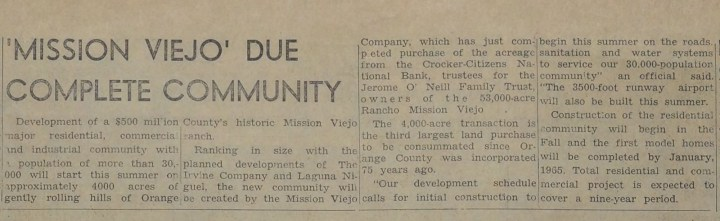 Mission Viejo concept and planning 1964
