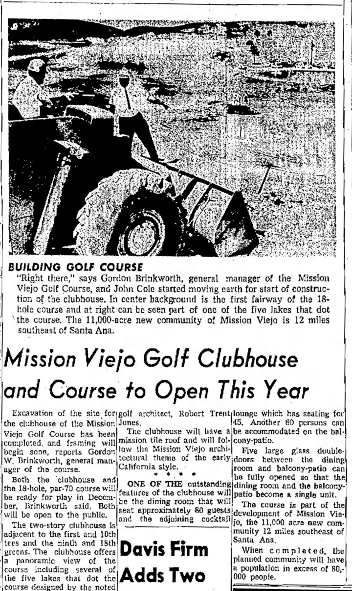 Construction begins on the Mission Viejo Golf Course
