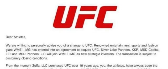 Copy of letter sent to fighters regarding UFC sale