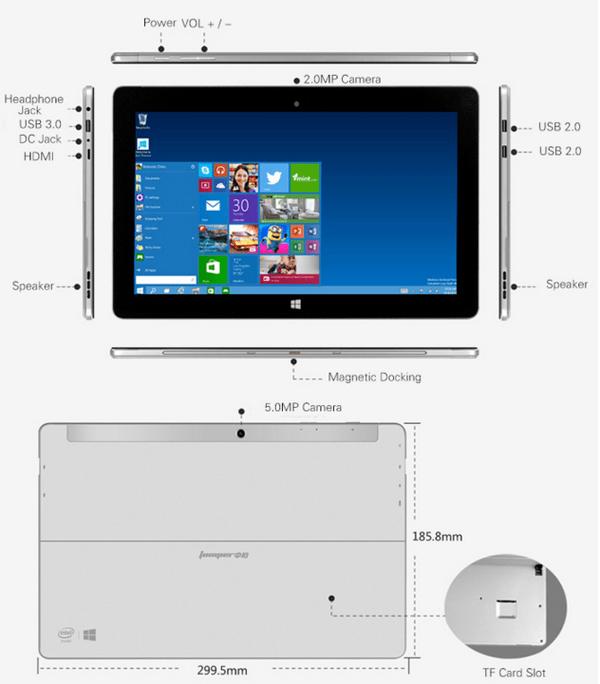 umper EZpad 5s Flagship 2 in 1 Ultrabook Tablet PC レビュー 外部コネクタ―