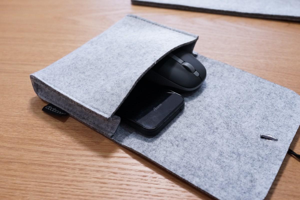 dodocool MacBook用 12インチフェルト素材のソフトケースレビュー 付属のポーチの用途と参考写真