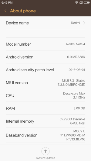 Xiaomi Redmi Note 4 レビュー GearBestから届いた時のROM参考画像