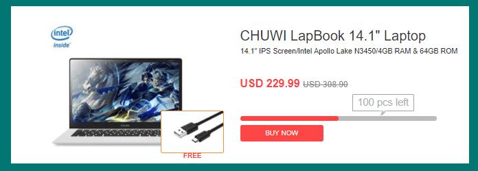 CHUWI LapBook 14.1 $219.99
