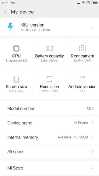 Xiaomi Mi6をMIUI9にアップデート!まだCDMA2000は掴まず。