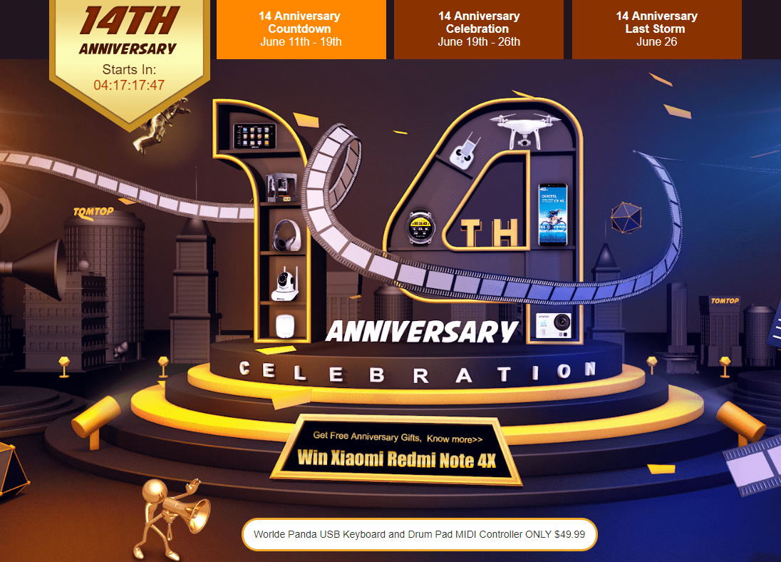 TOMTOPで14週年祭でBluetooth骨伝導イヤホンが31.99ドル、Elephone P8が169.99ドル、福袋などセール中