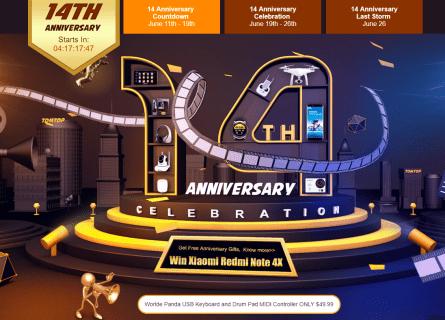 今日からメインセール!TOMTOPで14週年祭でBluetooth骨伝導イヤホンが31.99ドル、Elephone P8が169.99ドル、福袋も