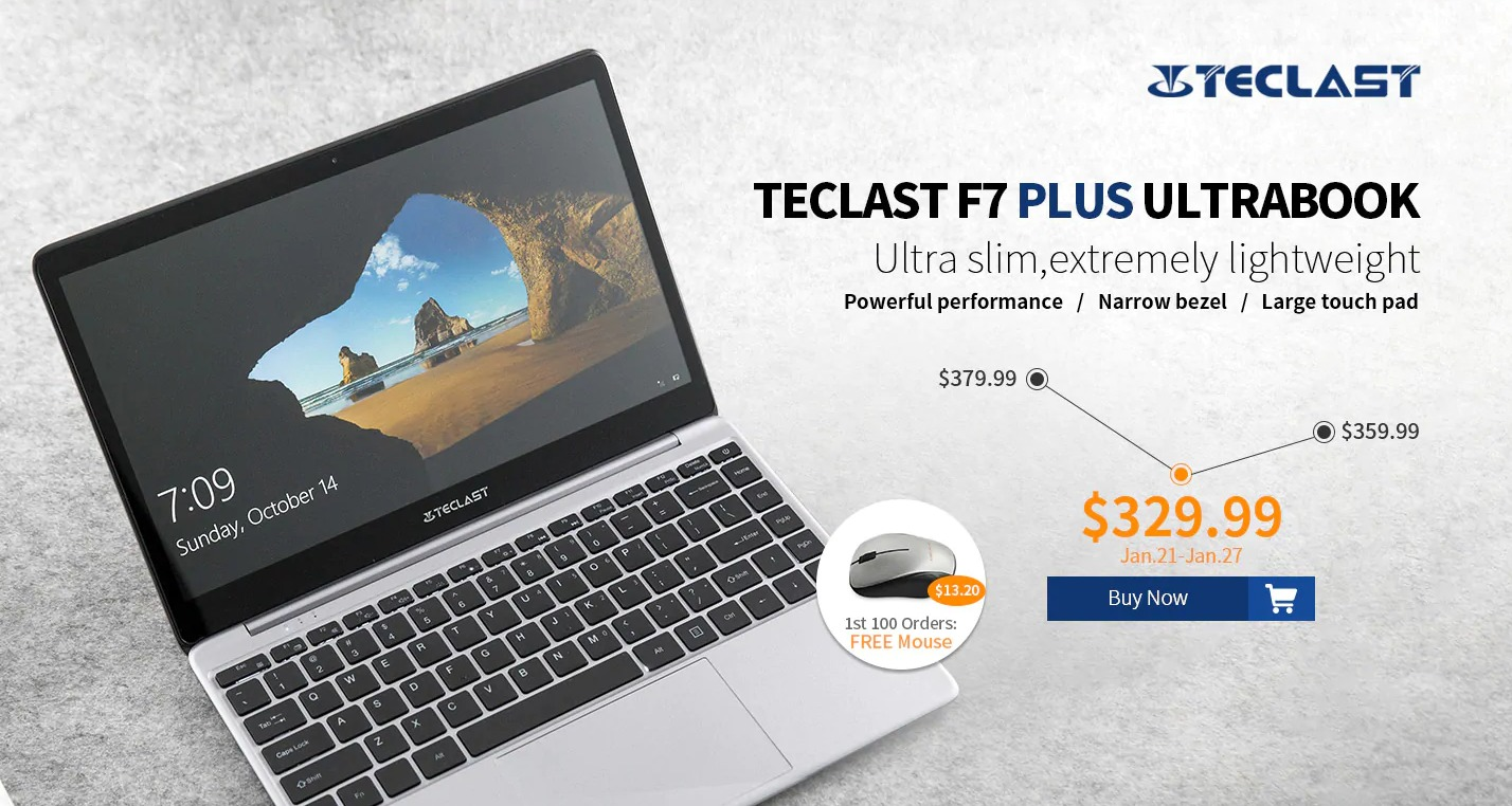 Teclast F7 Plus  Intel Gemini Lake N4100搭載14インチSSDノートPCが$329.99!